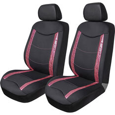 SCA Animal Panel  Seat Covers - Black/Pink, Adjustable Headrests, Airbag Compatible, , scaau_hi-res