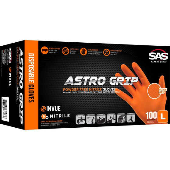 SAS Astro-Grip Nitrile Gloves - Orange, Large, 100 Pack, , scaau_hi-res
