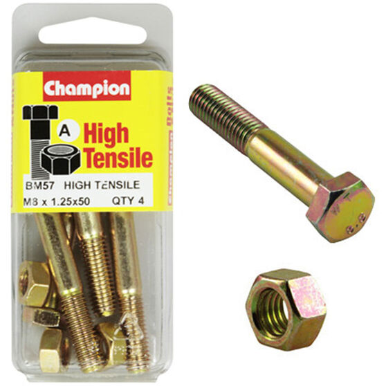 Champion High Tensile Bolts and Nuts - M8 X 50, BM57, , scaau_hi-res