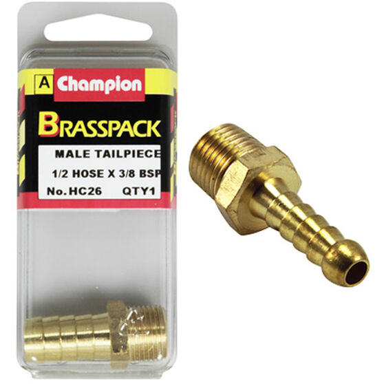 Champion Male Hose Barb - 1 / 2inch X 3 / 8inch, Brass, , scaau_hi-res