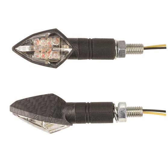 Motorcycle Indicators - LED, Carbon Effect, 2 Pack, , scaau_hi-res