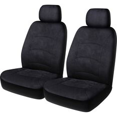 Premium Suede Seat Covers - Black, Adjustable Headrests, Size 30, Front Pair, Airbag Compatible, , scaau_hi-res