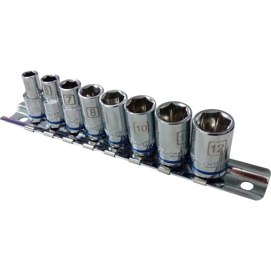 ToolPRO Socket Rail Set - 1 / 4 inch Drive, Metric, 8 Piece, , scaau_hi-res