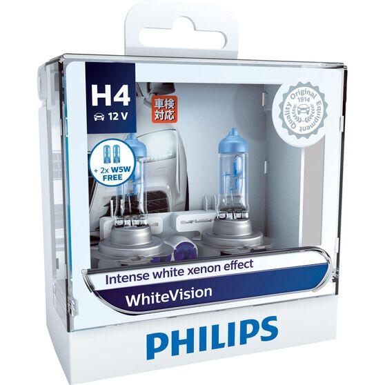 Philips WhiteVision Headlight Globes - H4, 60/55W, , scaau_hi-res