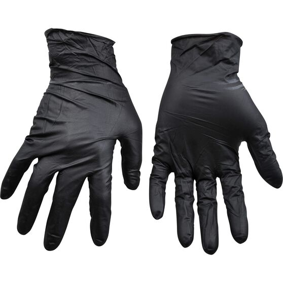 ToolPRO Nitrile Gloves - Black, One Size, , scaau_hi-res