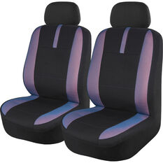 SCA Mesh Seat Covers - Black Blue and Orange Adjustable Headrests Size 30 Front Pair Airbag Compatible, , scaau_hi-res
