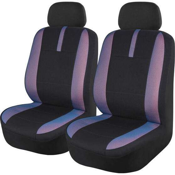 SCA Mesh Seat Covers - Black, Blue and Orange, Adjustable Headrests, Size 30, Front Pair, Airbag Compatible, , scaau_hi-res