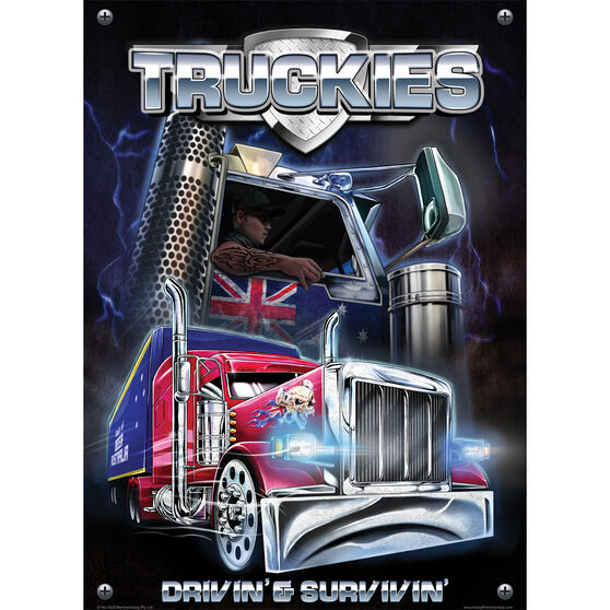 Truckies Driving and Surviving Tin Sign, , scaau_hi-res