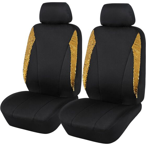 Sequin Seat Covers - Black and Gold, Adjustable Headrests, , scaau_hi-res