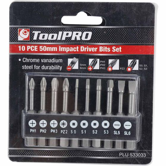 ToolPRO Impact Driver Bit Set - 50mm, 10 Pieces, , scaau_hi-res