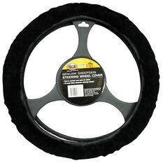 SCA Steering Wheel Cover - Sheepskin, Black, 380mm diameter, , scaau_hi-res