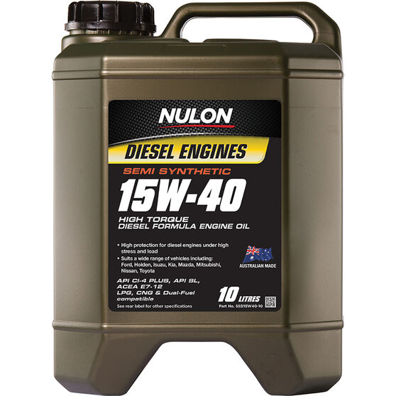 Nulon Semi Synthetic High Torque Diesel Engine Oil 15W-40 10 Litre, , scaau_hi-res