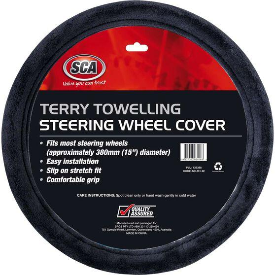 SCA Steering Wheel Cover - Terry Towelling, Grey, 380mm diameter, , scaau_hi-res