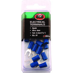 SCA Electrical Terminals - Spade, Blue, 4.3mm, 20 Pack, , scaau_hi-res