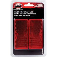 Reflector - Rectangle, 94 x 44mm, Red, 2 Pack, , scaau_hi-res