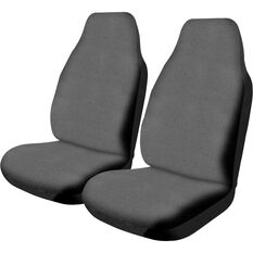 Canvas Seat Covers - Charcoal, Built-in Headrests, Size 60, Front Pair, Airbag Compatible, , scaau_hi-res
