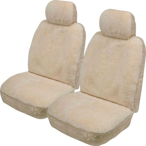 Gold Cloud Sheepskin Seat Covers - Bone Adjustable Headrests Size 30 Front Pair Airbag Compatible Bone, Bone, scaau_hi-res
