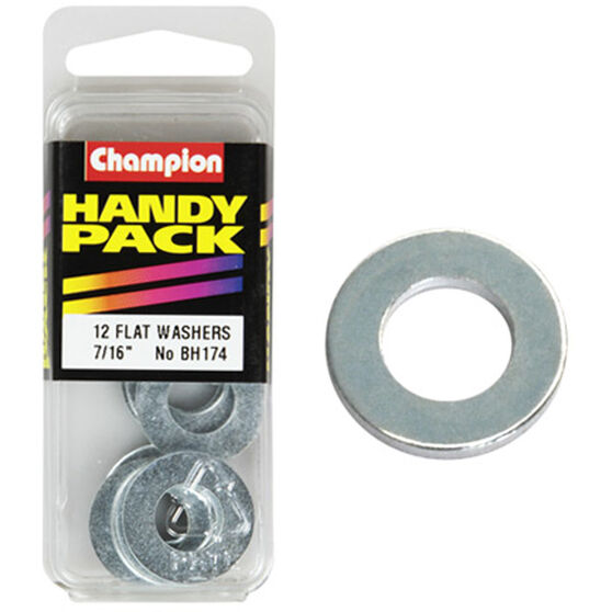 Champion Flat Steel Washers - 7 / 16inch, BH174, Handy Pack, , scaau_hi-res