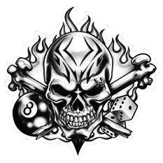 Hot Stuff Sticker - Skull 8 Ball, Vinyl, , scaau_hi-res