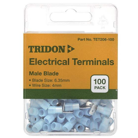 Tridon Electrical Terminals - Male Blade, Blue, 3.35mm, 100 Pack, , scaau_hi-res