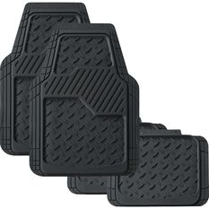 SCA Diamond Synthetic Rubber Floor Mats - Black, 4 Pack, , scaau_hi-res