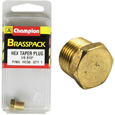 Champion Hex Taper Plug - 1 / 8inch, Brass, , scaau_hi-res