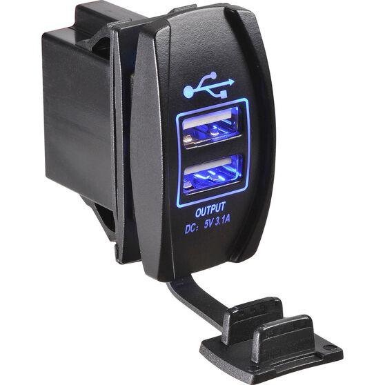 Narva Dual Switch - 12 / 24V, USB, LED, Blue, , scaau_hi-res
