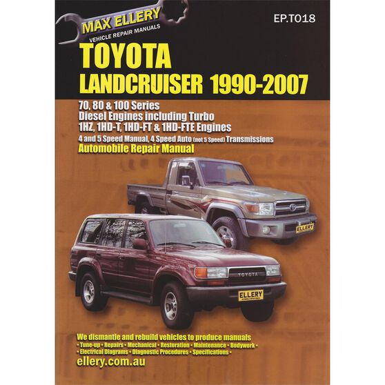 Max Ellery Car Manual For Toyota Landcruiser 1990 2007 Ep T018