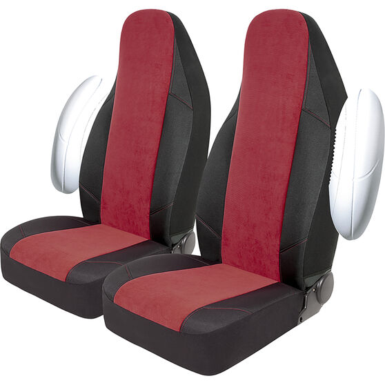 SCA Cord Seat Covers - Red/Black, Built-in Headrests, Size 60, Front Pair, Airbag Compatible, , scaau_hi-res