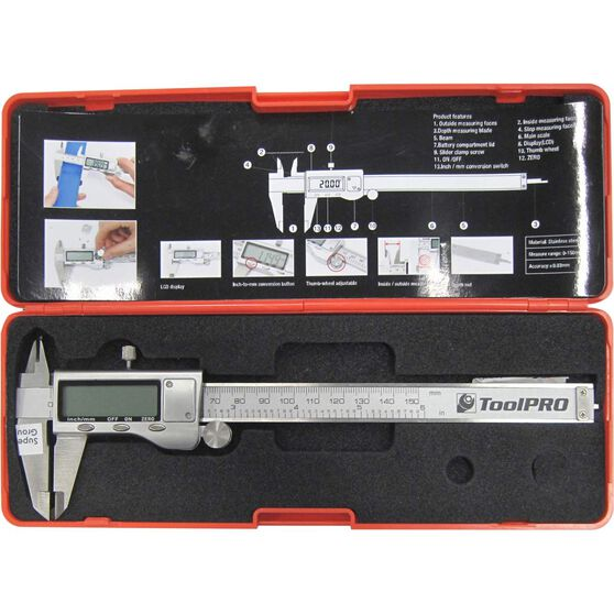ToolPRO Caliper Vernier w /  Case - Digital, Stainless Steel, 150mm, , scaau_hi-res