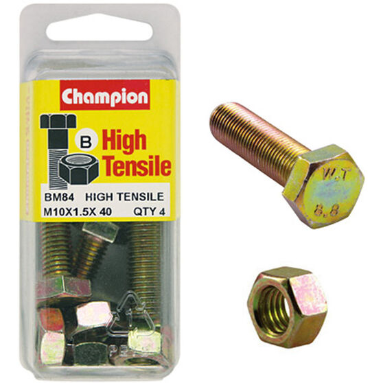Champion High Tensile Bolts and Nuts - M10 X 40, , scaau_hi-res