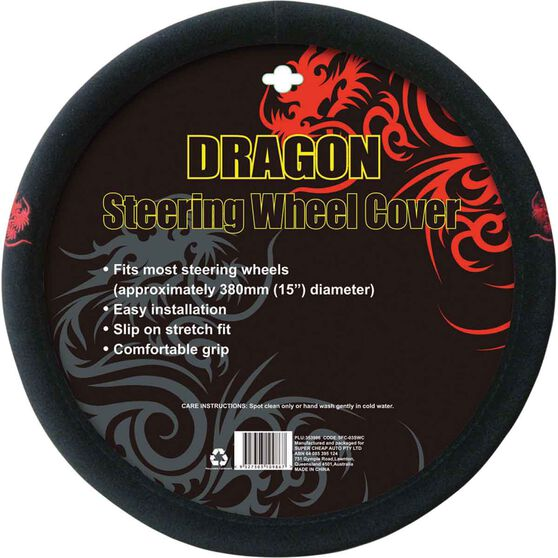 Dragon Steering Wheel Cover - Brushed Polyester, Red, 380mm diameter, , scaau_hi-res
