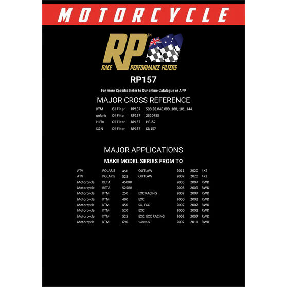 Race Performance Motorcycle Oil Filter - RP157, , scaau_hi-res