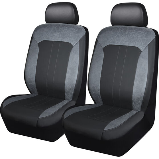 SCA Velour & Leather Look Seat Covers - Black and Grey, Adjustable Headrests, Size 30, Front Pair, Airbag Compatible, , scaau_hi-res