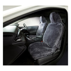 Gold Cloud Sheepskin Seat Covers - Slate Adjustable Headrests Size 30 Front Pair Airbag Compatible Slate, Slate, scaau_hi-res