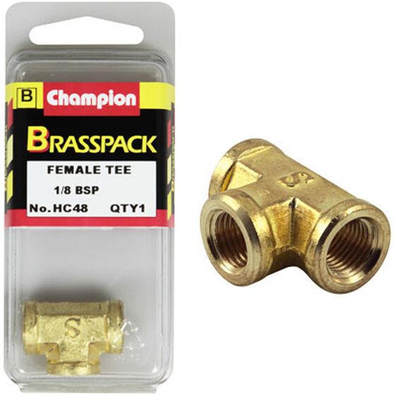 Champion Female T Pieces - 1 / 8inch, Brass, , scaau_hi-res