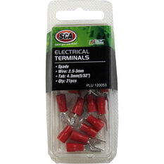 SCA Electrical Terminals - Spade, Red, 4.3mm, 21 Pack, , scaau_hi-res