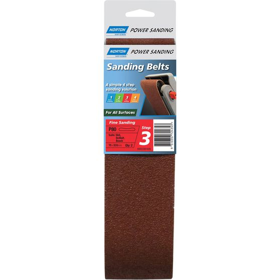 Norton Sanding Belt - 80 Grit, 2 Pack, , scaau_hi-res