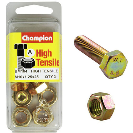 Champion High Tensile Bolts and Nuts - M10 X 25, , scaau_hi-res