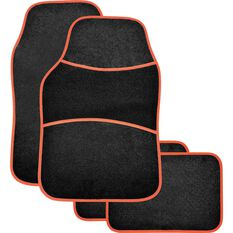 Sports Floor Mats - Carpet, Black / Red, Set of 4, , scaau_hi-res