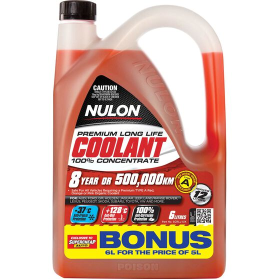 Nulon Red Premium Long Life Coolant Concentrate 6 Litre, , scaau_hi-res