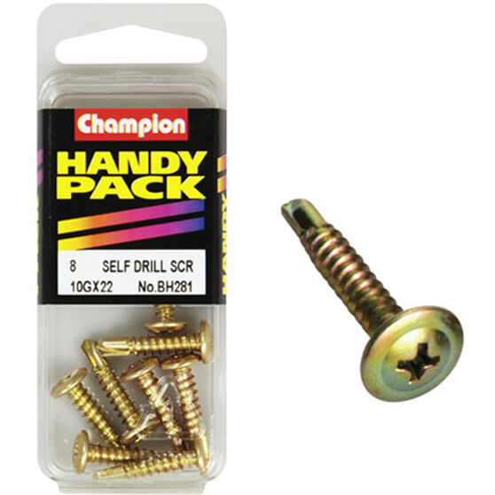 Champion Self Drilling Screws - 10G X 22, BH281, Handy Pack, , scaau_hi-res
