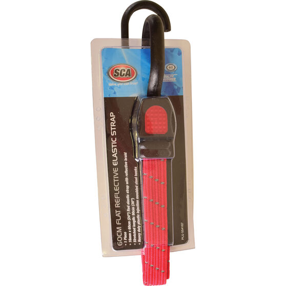SCA Reflective Flat Bungee Strap - 60cm, Red, , scaau_hi-res