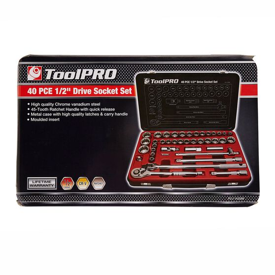 ToolPRO Socket Set - 1 / 2 inch Drive, Metric / Imperial, 40 Piece, , scaau_hi-res
