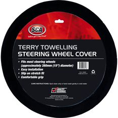 SCA Steering Wheel Cover - Terry Towelling, Black, 380mm diameter, , scaau_hi-res