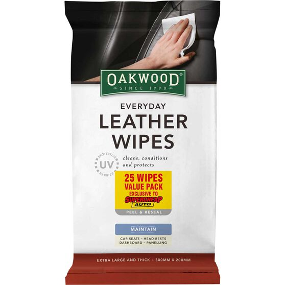 Oakwood Everyday Leather Wipes - 25 Pack, , scaau_hi-res