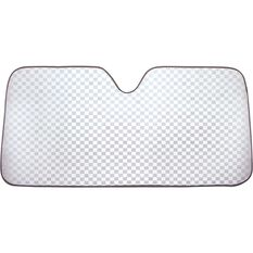Silver Checkerplate Sunshade - Accordion, Front, , scaau_hi-res