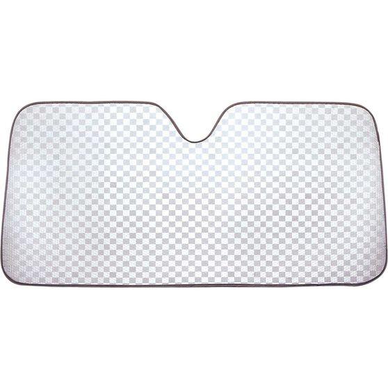Silver Checkerplate Sunshade - Accordion, Front, , scaau_hi-res