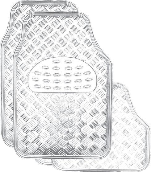 SCA Checkerplate Car Floor Mats PVC Silver Set of 4, , scaau_hi-res