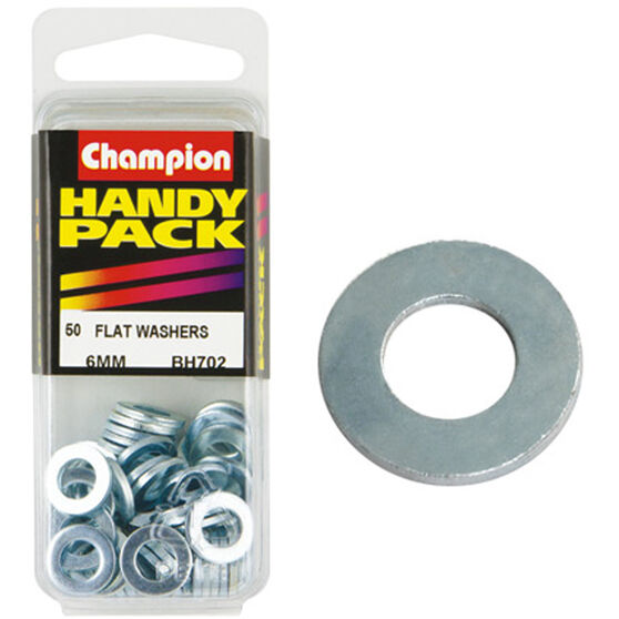 Champion Flat Steel Washer - 6mm, BH702, Handy Pack, , scaau_hi-res